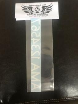 """1"""" Custom YOUR AMA NUMBER permanent vinyl Decal RC Airplane"""