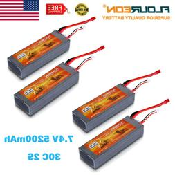 4X 5200mAh 7.4V 2S 30C Lipo RC Battery T Plug for RC Helicop