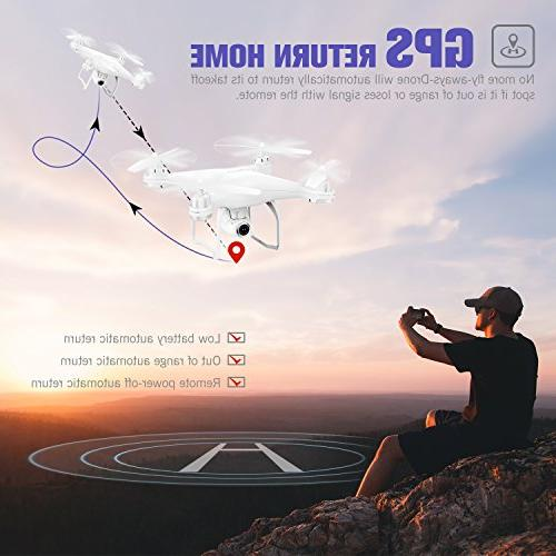Potensic RC Drone Camera Live Video GPS Return Quadcopter Adjustable Wide-Angle 1080P WiFi Camera- Altitude Hold, Long Range