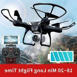 RC Quadcopter Drone Long Flight Time WIFI FPV Wide Angle HD
